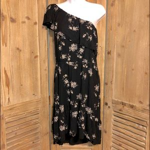 Lucky Brand floral dress, one shoulder, large.